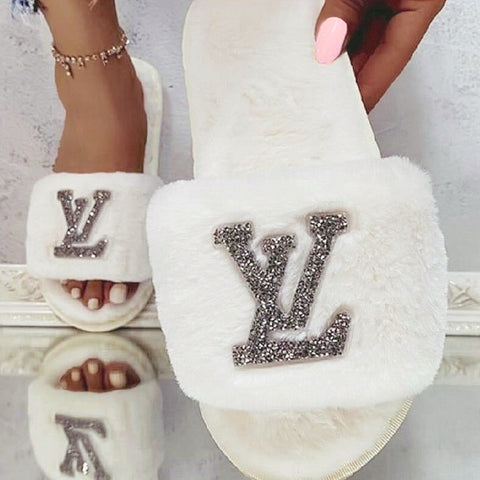Diamanté Love Slippers - White