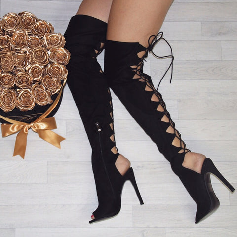 Olivia Lace-Up Back Black Boots