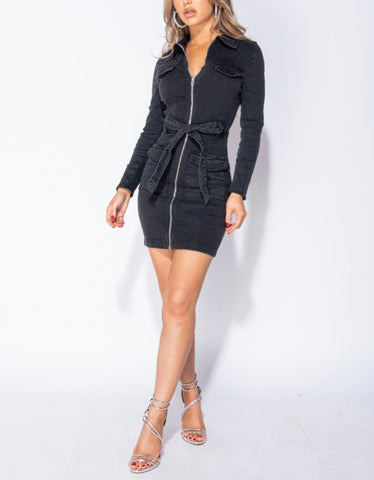Annalise Zip-Front Denim Dress - Black