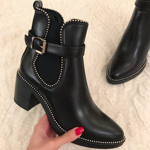 High Standards Block Heel Ankle Boots