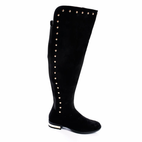 Paris Black Suede Gold Stud Over The Knee Boots