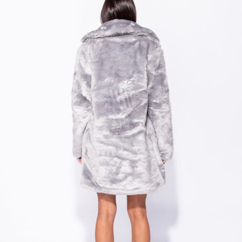 Khloe Light Grey Long Faux Fur Coat