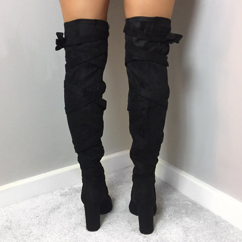 Elena Black Over The Knee Boots