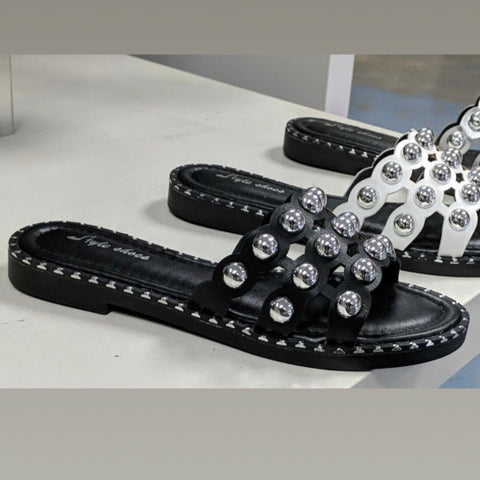 Ashli Black Stud Sandals