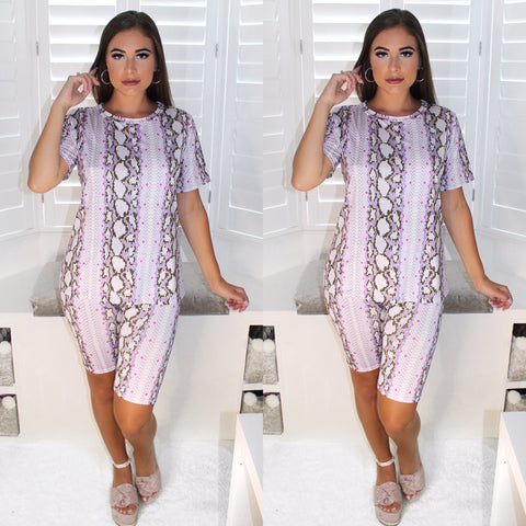 Kira Snakeskin Co Ord Set - Lilac