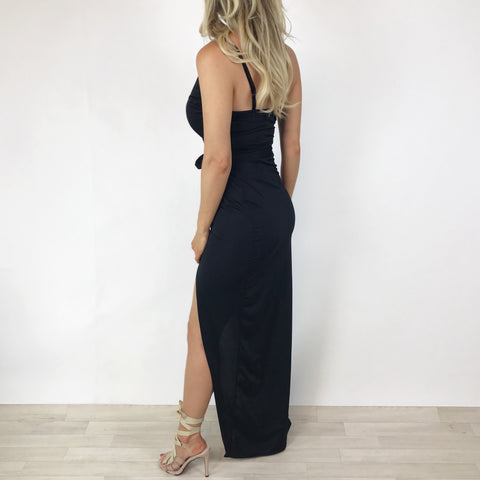 Bryony Black Split Maxi Dress