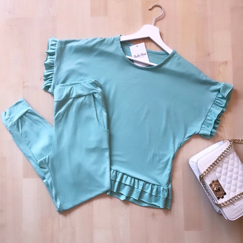 Jada Mint Frill Sleeve Loungewear Set