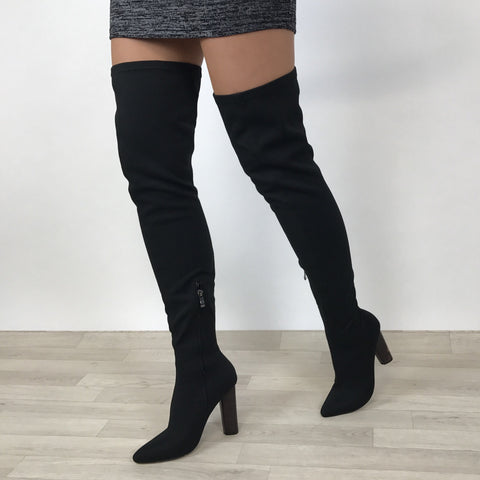 Kimberley Black Thigh Knit Boots