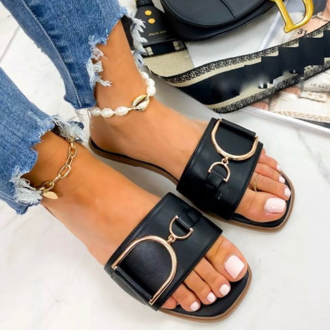Coco Gold Detail Slip-on Sandal - Black