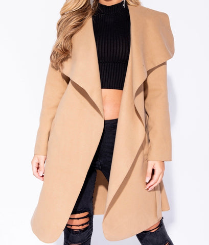 Calissa Camel Belt Tied Waterfall Coat
