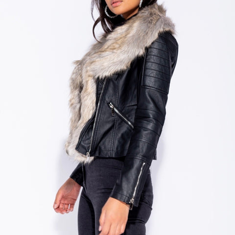 Layla Fur Collar Leatherette Jacket