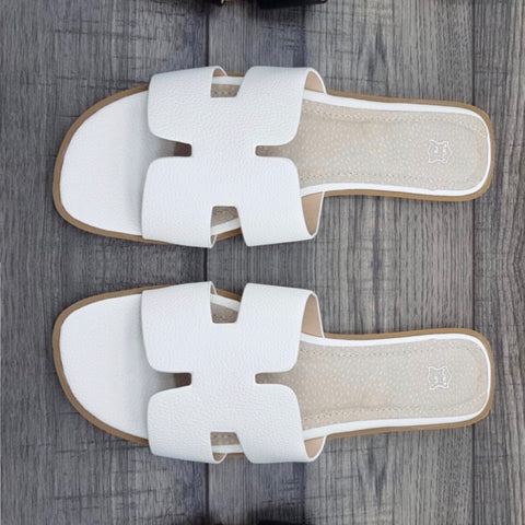 Ambra White Leather Sandals