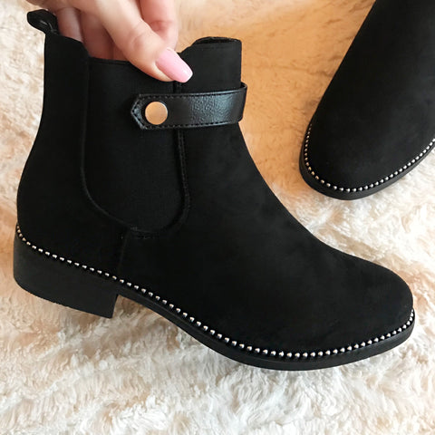 Brogan Black Studded Ankle Boots