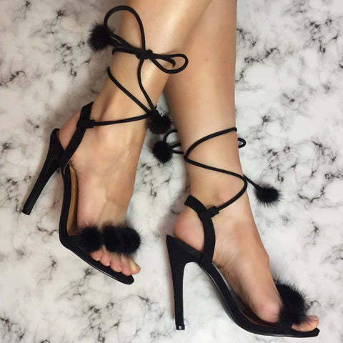 Fifi Black Fluffy Pom Stilettos