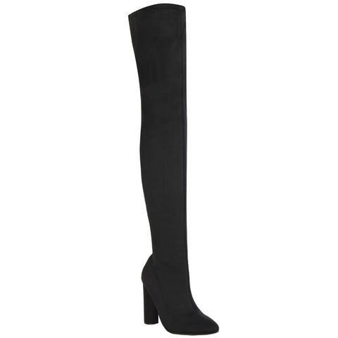 Ivy Black Thigh High Boots