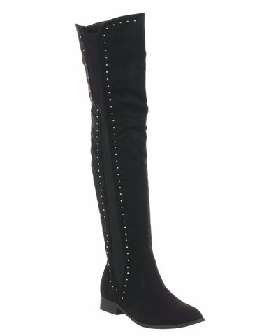 Sophia Black Studded Over The Knee Flat Boots