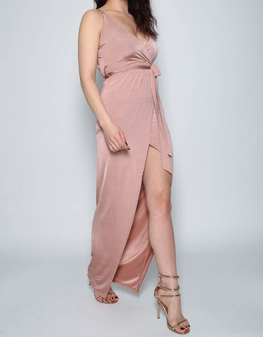Bryony Rose Gold Thigh Split Maxi Dress