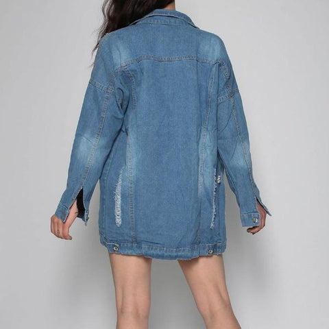 Tia Distressed Pearl Long Denim Jacket