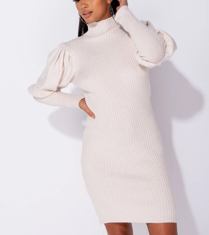 Couture Cream Puff Sleeve Jumper Dress
