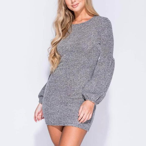 Caris Grey Puff Sleeve Knitted Dress