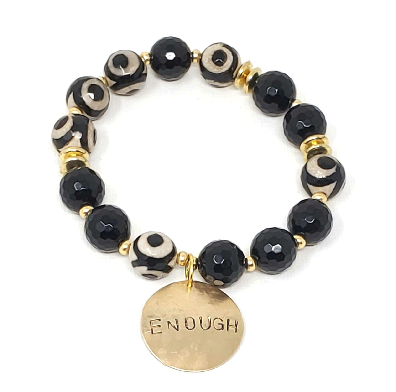 Black & White Gemstone Affirmation Bracelet