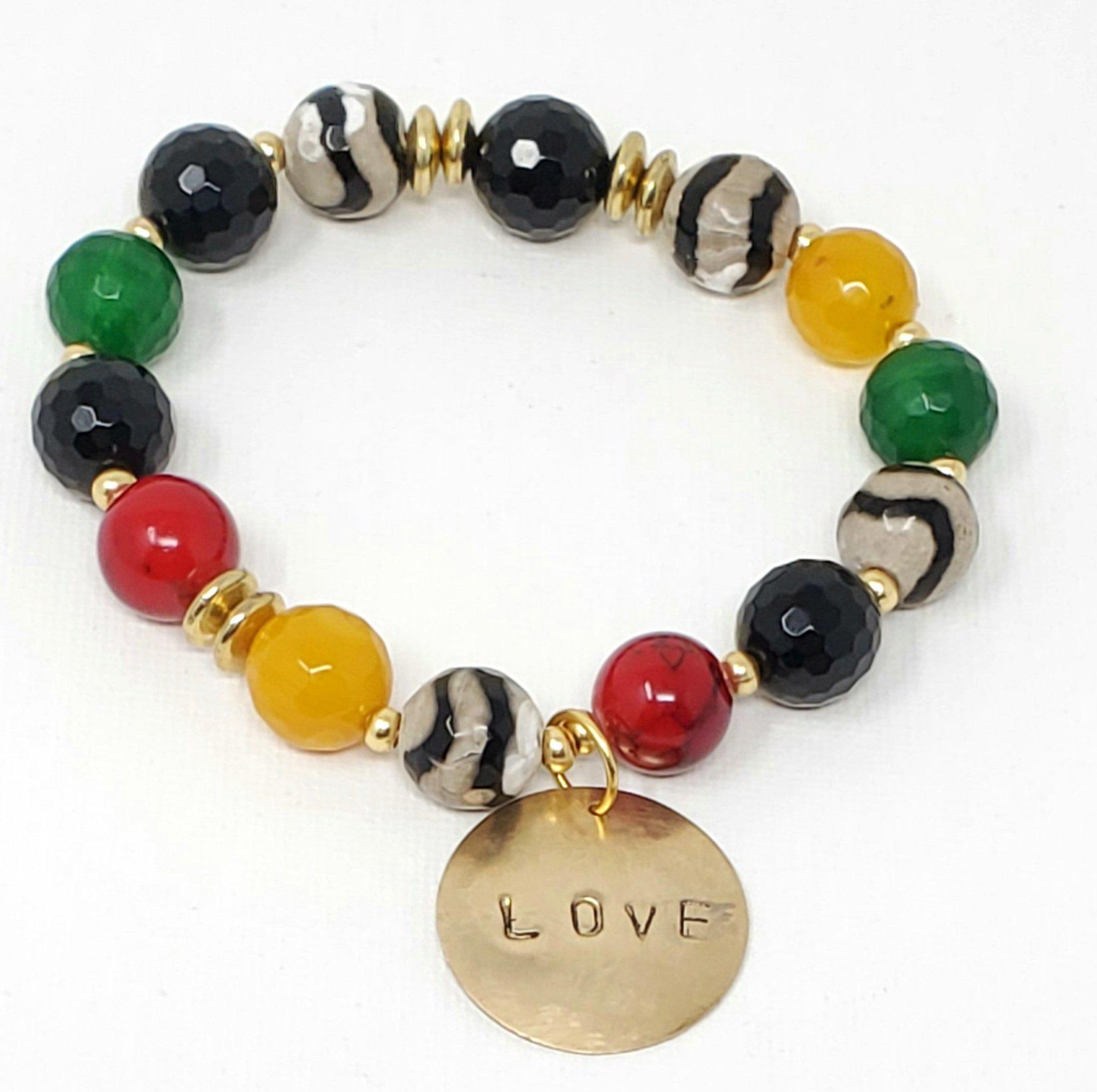 Black White & Multi-Colored Gemstone Affirmation Bracelet