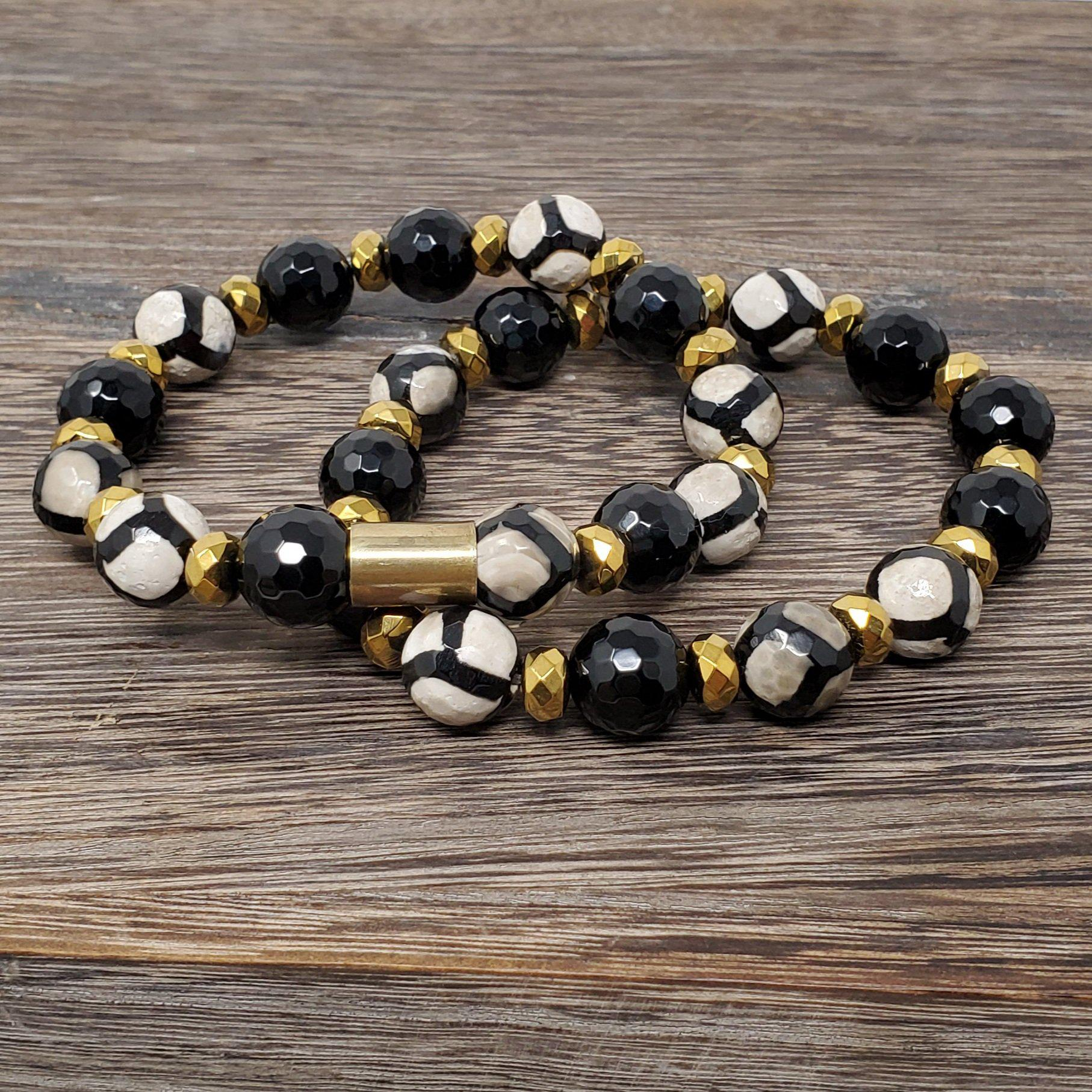 Faceted Black & White Tibetan Agate Onyx Bracelet Set