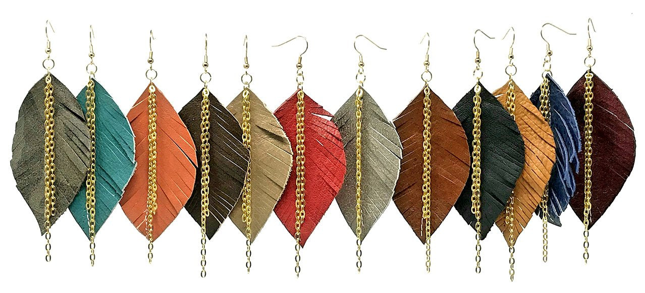 leather, leaf earrings, eco-friendly earrings, handmade jewelry,