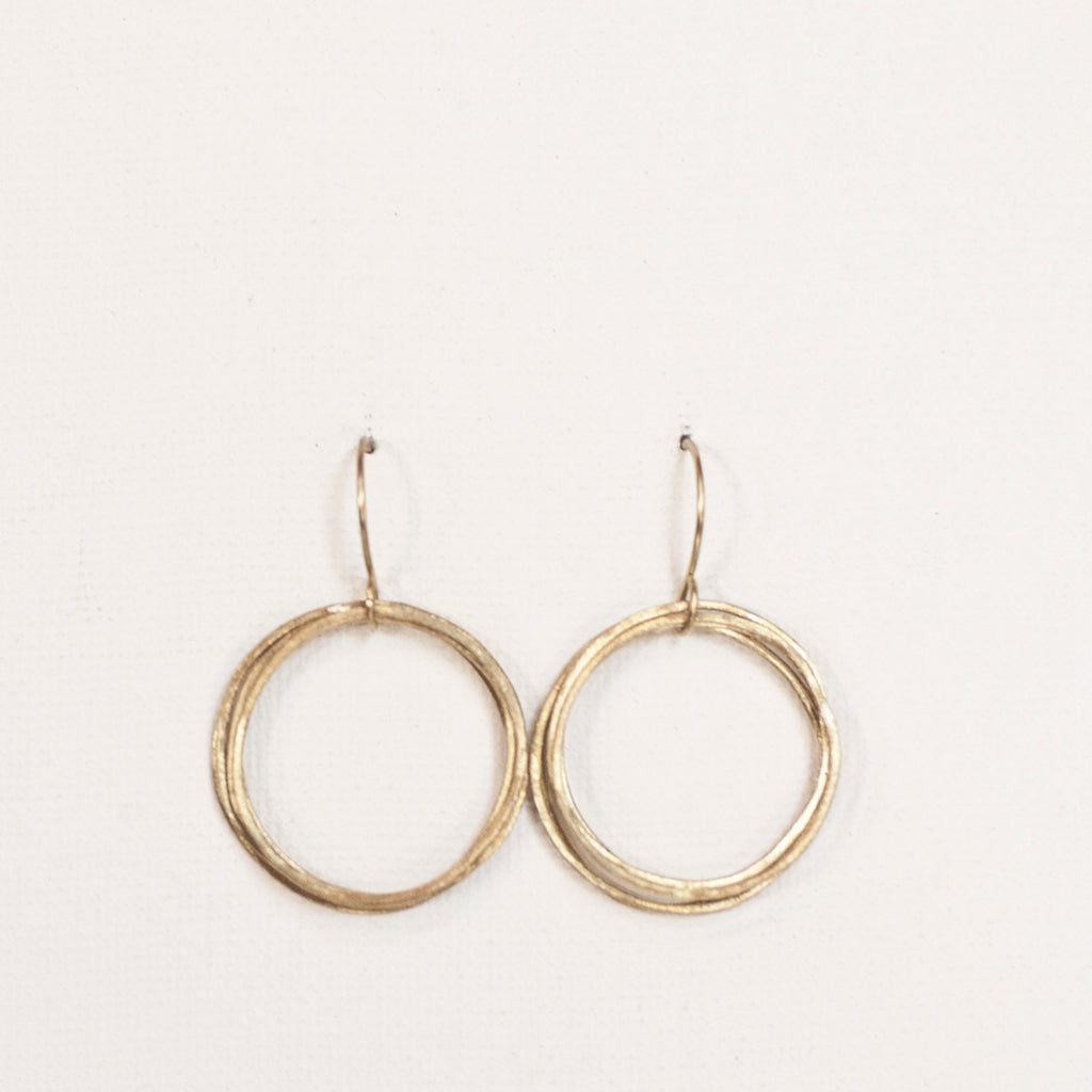 Handmade brass brushed brass loop earrings
