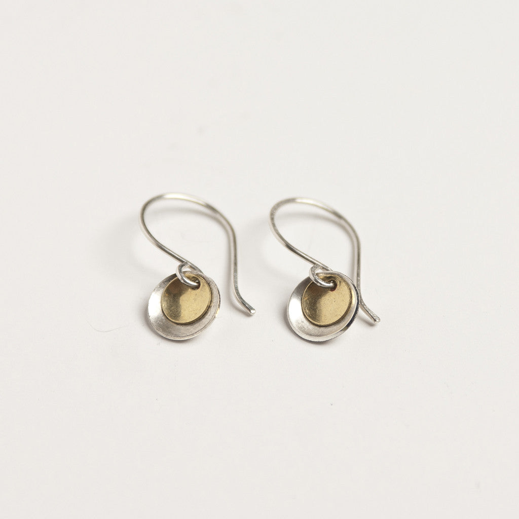 Handmade brass and sterling silver earrings