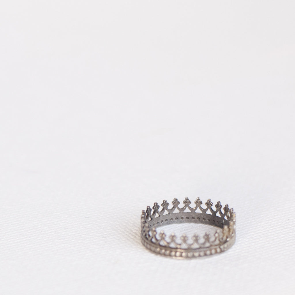 Sterling silver stackable handmade crown rings