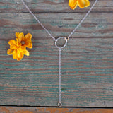 Handmade mixed metal sterling silver brass lariat necklace
