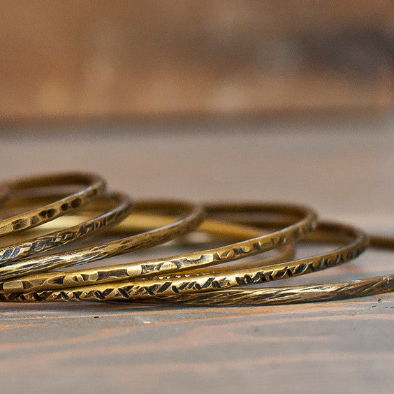 Antiqued brass stackable bangles