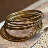 Antiqued stackable brass bangles
