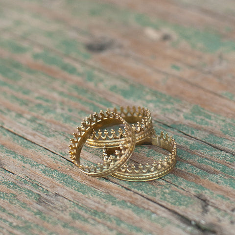 "Brass Stackable ""Crown Me"" Rings"