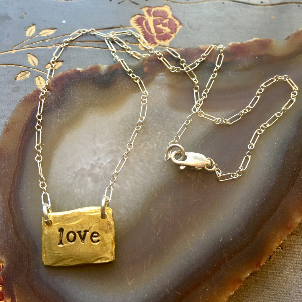 Love brass necklace