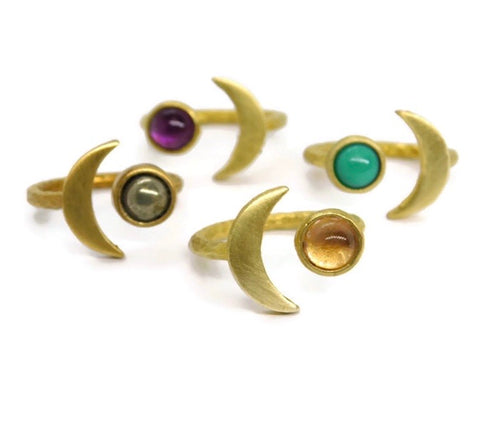 Crescent Moon Brass Ring