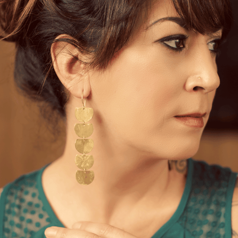 Cleopatra brass earrings