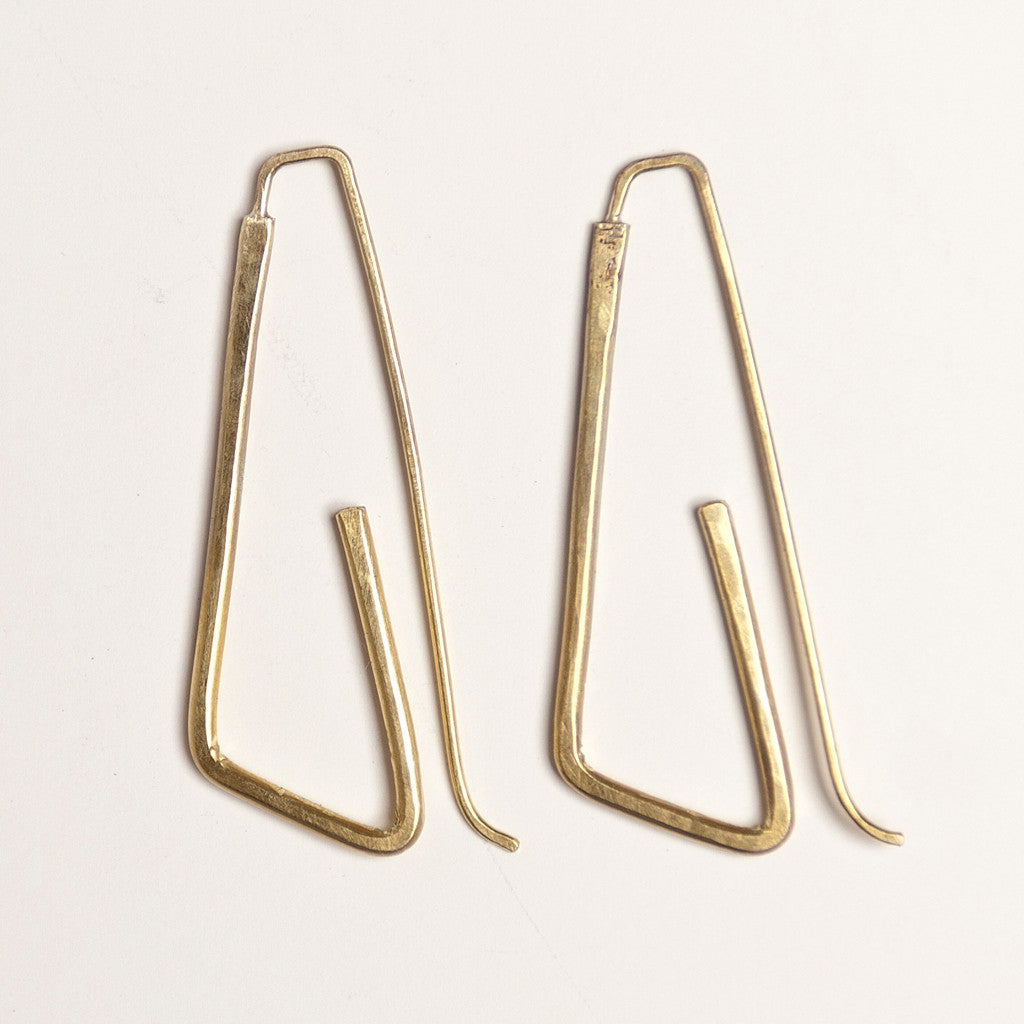 Distinctive brass loop earrings handmade by Julie Cooper