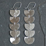 Brushed recycled sterling silver handmade cleoopatra earrings