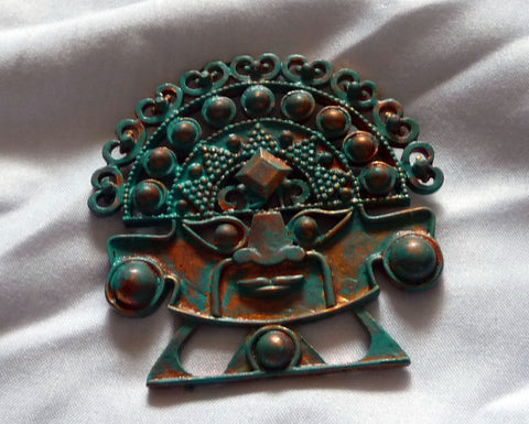 Large Upcycled Inca Idol Brooch Copper Verdigris Patina Added-Maxine Denker