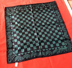 Silk. Green and black geometric themed scarf