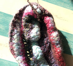 Multicolored felted neck warmer collar or for crafting