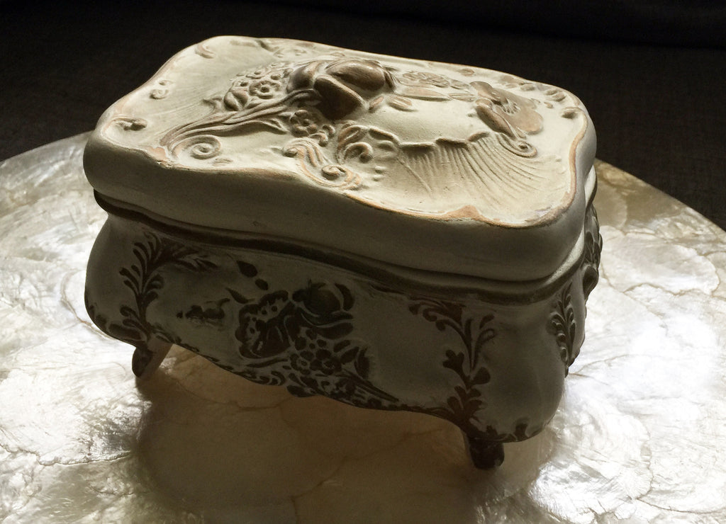 Cream ceramic gift or jewelry box gold detailing