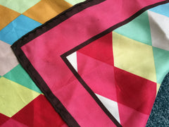 Multicolored silk scarf with abstract harlequin diamond pattern
