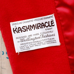 Red-Orange Kashmiracle Coat, Wellington Fashions, vintage 1960s, size small-medium (4-10)