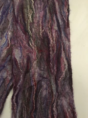 Long purple hand felted scarf