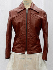 Reddish-Brown Leather Zip-Front Jacket, Reed Sportwear, vintage 1970s, size small-medium