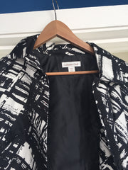 Large and roomy black and white abstract jacket