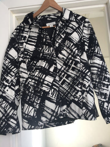 Large and roomy black and white abstract jacket - Stop Making Senz a Maker Studio